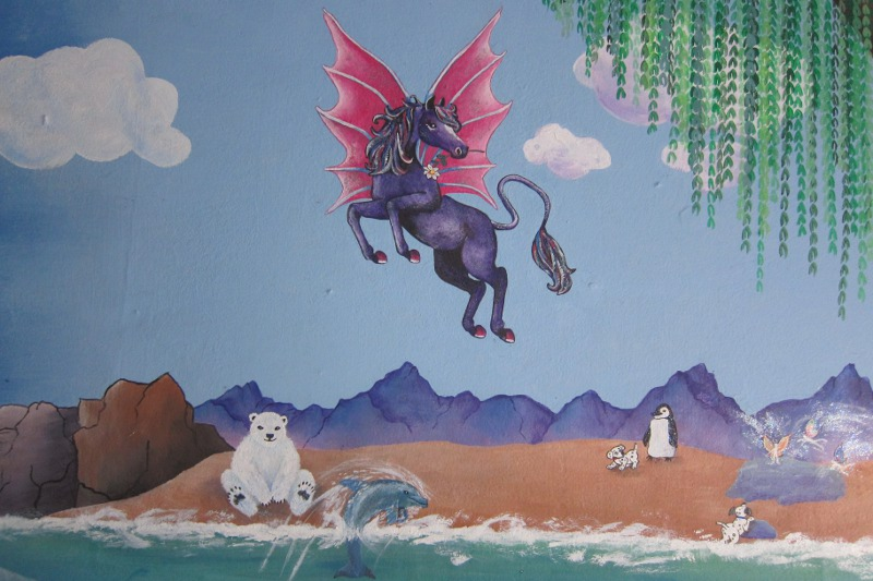 Unicorn Mural Detail ~ Pegasus