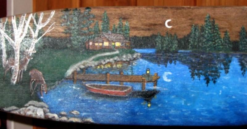 detail of painted oar