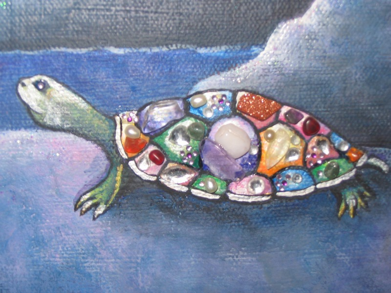 Turtle Moon Detail ~ Jeweled Turtle