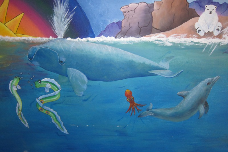 Unicorn Mural Detail ~ Whales